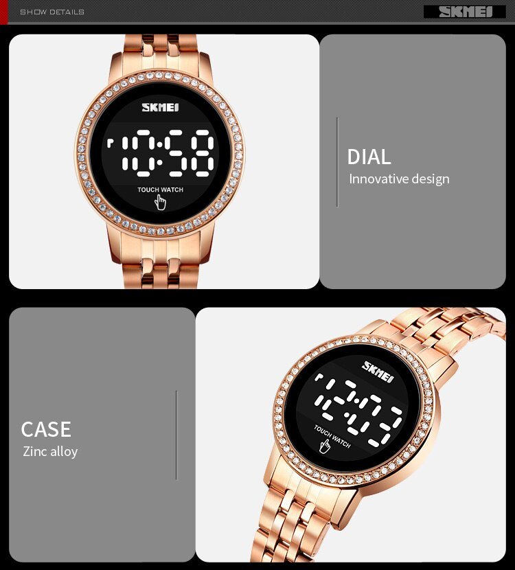 SKMEI Digital LED Touch Women Watch Diamond Waterproof Ladies Wristwatches Simple Date Time Watches For Female reloj mujer 1669